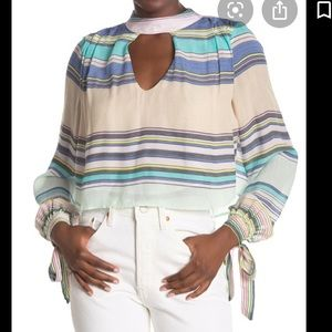 NWT WILFOX MOCK NECK BACK TIE STRIPED BLOUSE